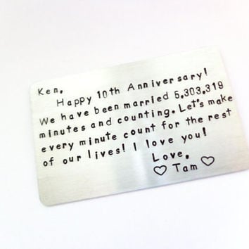Anniversary Gift - Wallet Insert Card - Personalized - 10 Year Anniversary- Create Your Own - Gift For the one You LOvE