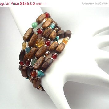 SALE 60 OFF Cuff Bracelet Multicolor Gemstones Six Strands Turquoise Apatite Bohemian Boho Chic