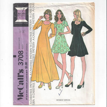McCall's 3708 Pattern for Misses' Dress in Short of Floor Length, Size 12, From 1973, Princess Seams, Sweetheart Neck, Vintage Pattern