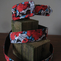 FREE SHIPPING Vintage Abstract Floral Cloth Belt - adjustable - black white red turquoise