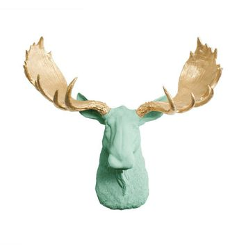 The Alberta | Moose Head | Faux Taxidermy | Mint Green + Gold Antlers Resin