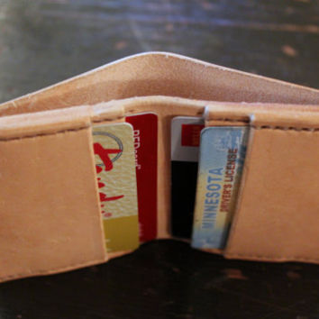 Handcrafted Five Pocket Bi-Fold Handstitched Vegetable Tanned Leather Wallet