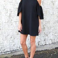 Streetstyle  Casual Black Draped Off-shoulder Round Neck Short Sleeve Mini Dress