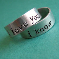 Star Wars Rings- Han & Leia -Pair of Adjustable His and Hers Aluminum Rings -your choice of font