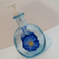 Soap Dispenser, Recycled bottle dispenser, Clear blue Tequila bottle, Lotion dispenser, Home decor