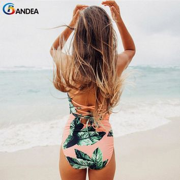 BANDEA new sexy swimwear women bandage swimsuit vintage floral print bathing suit beach crop top one piece swim wear monokini