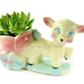 Vintage Ceramic Lamb Planter with Succulent Plant, Nursery Decor, Kawaii Home Pink and Blue Baby