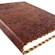 Floral Embossed Leather Notebook with Handmade Paper