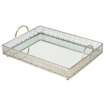 Large Rectangular Mirror Top Serving Tray | Silver | Giovanni Collection