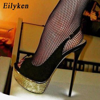 Eilyken 2018 Autumn Flock Peep Toe Pumps Party shoes Stiletto Heels Sexy Buckle Strap Women Platform Pumps Dress shoes