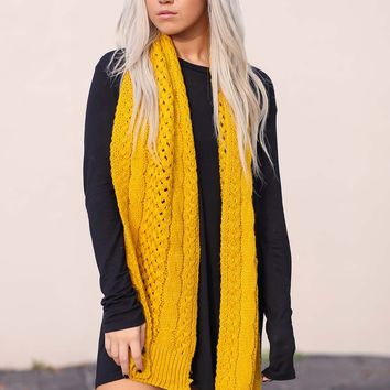 Sunshine Cable and Basket Knit Scarf (Mustard)