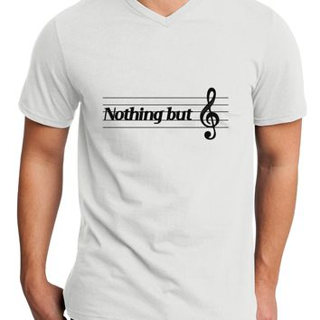 Nothing But Treble Music Pun Adult V-Neck T-shirt by TooLoud