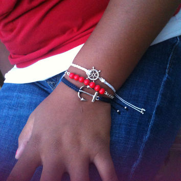 Navy Blue, Red & White Nautical Bracelets Stack Set Anchor and Helm Beach Accessories