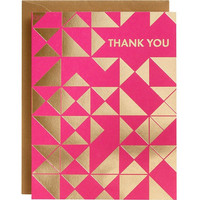 Gold Triangles Fuchsia A2 Thank You Notes