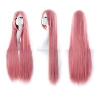 """MapofBeauty 40"""" 100cm Pink Long Straight Cosplay Costume Wig Fashion Party Wig"""