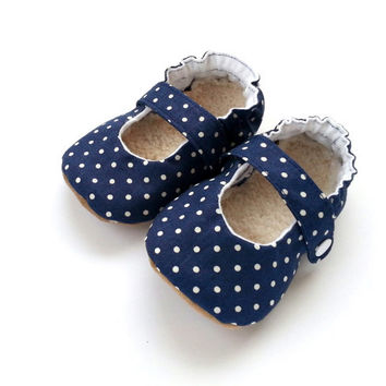 navy blue baby shoes girl mary janes shoes blue polka dot girl shoes mary jane booties baby girl shoes nautical shoes soft sole shoes vegan