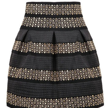 Women Black High Waist Skirt in Golden Rivet Studded Stripes One Size Fits for XS-L (Color: Black) = 1946742916