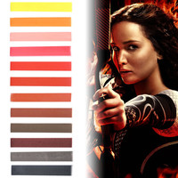 HUNGER GAMES | Shades of Hunger Games - Yellow, Orange, Salmon, Raspberry, Red, Brown & grey Ombre Hair Chalk temporary hair color set of 12