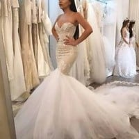 Sleeveless Mermaid Wedding Dresses with Lace Bridal Gowns Custom Size 2 4 6 8 10