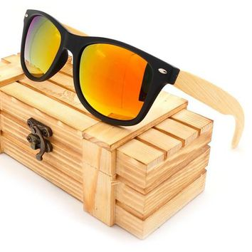 Vintage Square Sunglasses With Bamboo Legs- Mirrored  Summer Style - Wood Box