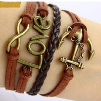 Vintage Anchor Leather Rope Love Infinity Bracelet