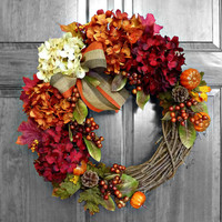 Fall Hydrangeas - Autumn Wreath - Wreaths - Hydrangea Wreath - Hydrangea Blooms - Wedding Decor - Fall Hydrangeas - Autumn Wreath - Wreaths