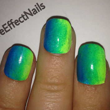 Neon Blue Green Ombré HandPainted Nails by PureEffectNails on Etsy
