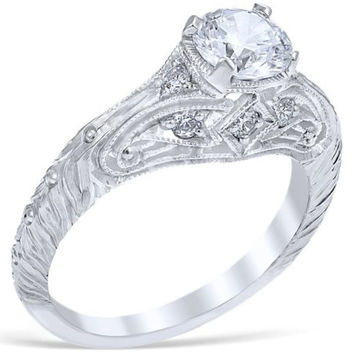 "Whitehouse Brothers ""Florin Leaf""  Vintage Style Diamond Engagement Ring"