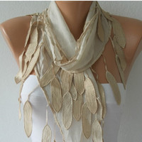 Scarf ,  Cotton Shawl  Cowl lace scarf - Beige - fatwoman