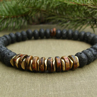 Men's Stretch Bracelet, Black Lava Stone, Earthtone Greek Ceramic Heishi Beads, Gold, Rustic, Elegant, Unisex, Casual Jewelry, Gift Idea