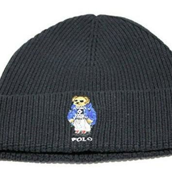 Polo Ralph Lauren Adult's Cuff Bear Black Beanie Hat One Size for just $49.99