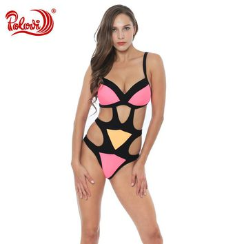 Hollow Out One Piece Swimsuit For Women Deep Bandage Bathing Suit Wire Padded Swimming Suit Bikinis