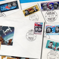 Space Topics -  Set of 6 Stamped Envelopes (FDCs) Premier Jour - Printed in the USSR, Moscow, 1973