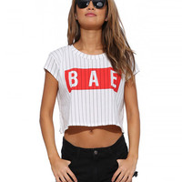 Striped Bae Print Short Sleeve Cropped Tee