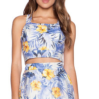 Y Strap Halter Floral Mid Dress