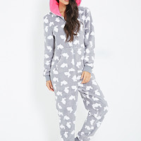 FOREVER 21 Bunny Print Plush PJ Onesuit Grey/White