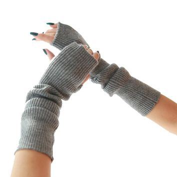 40cm Winter arm Female gloves Fingerless cashmere wool warm thin long women gloves guantes mujer