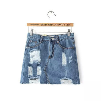 Stylish High Rise Rinsed Denim Denim Women's Fashion Skirt [5013346692]