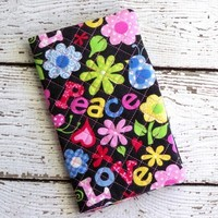 2 Year Pocket Planner Calendar Love Peace Fabric Cover Quilted