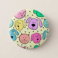 Cute Colorful Pet Pattern Round Button
