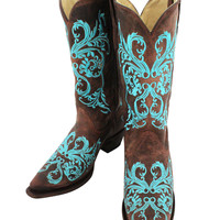Corral Turquoise Embroidered Dahlia Leather Boots R1193
