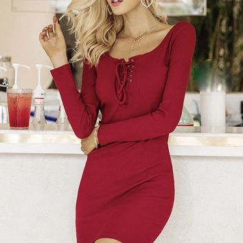 Romantic Red Lace Up Dress
