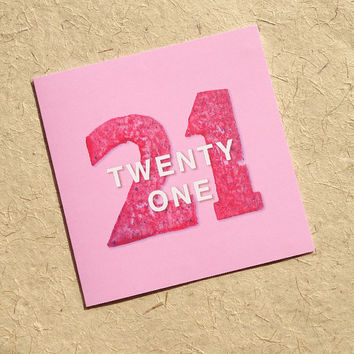 21st birthday card, original cute pink potato-print design to say happy birthday, a card they won't get from anyone else