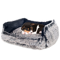 Faux Fur Mink Black Dog Beds