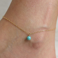 Sexy Shiny Gift Jewelry New Arrival Cute Ladies Fashion Accessory Stylish Summer Simple Turquoise Pendant Anklet [8080501127]