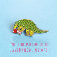 Pangolin Enamel Pin - Ping Pong Pangolin enamel pin - animal enamel Pin - lapel pin hat pin