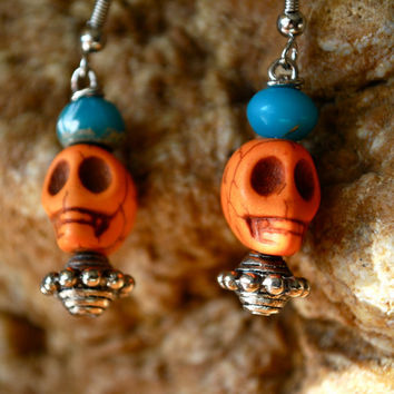 Orange Skull Earrings