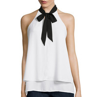 BELLE + SKY™ Sleeveless Layered Tie-Front Top - JCPenney