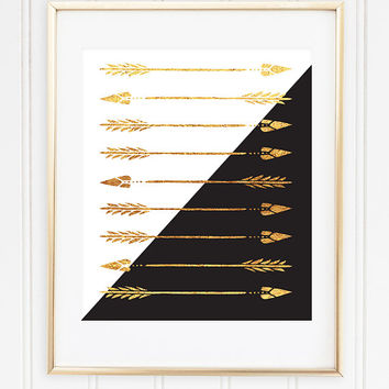 Faux Gold Foil - Arrows - Boho - Bohemian Home Decor - Office Decor - Wall Art - Black and Gold - Trendy Home Decor - Typographic - Office