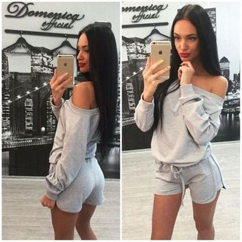 Women's Fashion Hot Sale Stylish Shorts Bottom & Top Sportswear Set [6717627975]